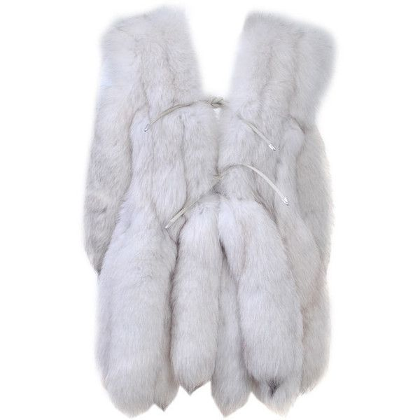 WHITE FOX VEST WITH TAILS ❤ liked on Polyvore featuring outerwear, vests, jackets, coats, fur, white fur vest, fox vest, white waistcoat, fur vest and fur waistcoat