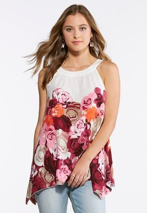 43d288c6d5a Cato Fashions Plus Size Rose Print Cleo Tank  CatoFashions