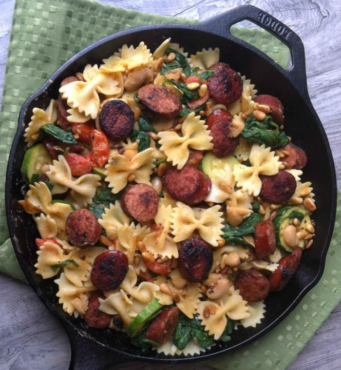 Smoked Sausage, White Bean and Spinach Pasta with Toasted Pine Nuts ...