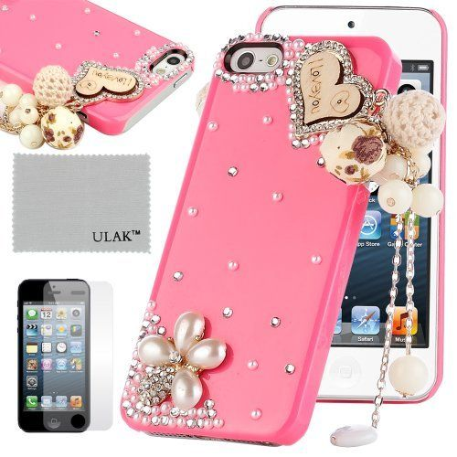 Pandamimi ULAKTM Luxury Bling Rhinestone Sweety Girls Fashion Hard Case Cover for iPhone 5 5s with Screen Protector (Rose/Flower&Heart) by ULAK, http://www.amazon.com/dp/B00FDMQ51I/ref=cm_sw_r_pi_dp_WXqqsb0RJAW43