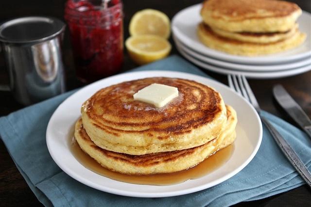 Cornmeal pancakes, Pancakes and Lemon on Pinterest