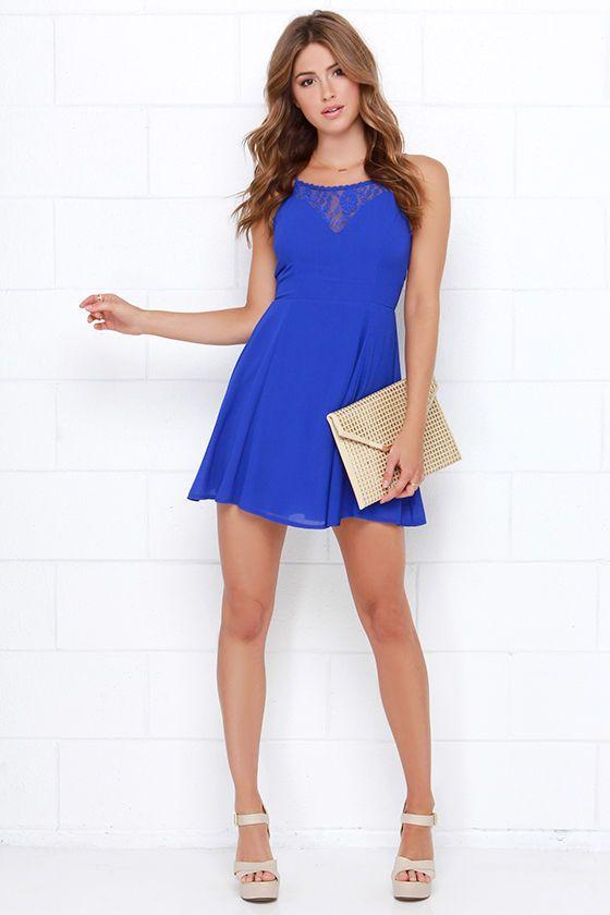 Muy Caliente Royal Blue Lace Dress