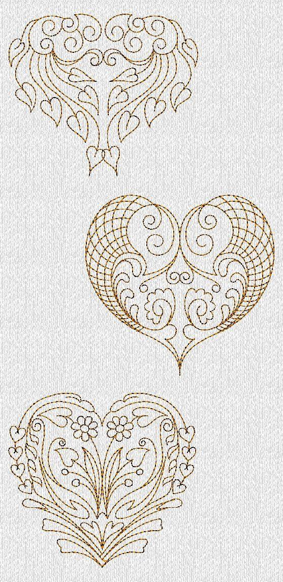 Filigree Valentines Hearts Redwork Machine Embroidery Designs. $8.50, via Etsy.: