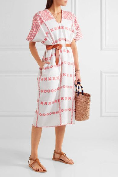 Pippa Holt - Embroidered Cotton Kaftan - White - One size