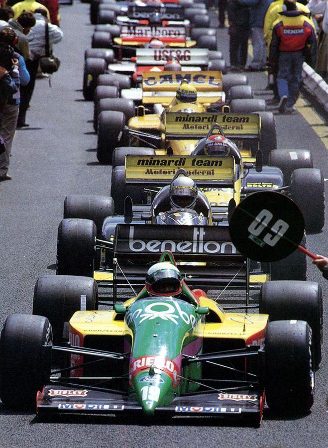 Ready to race pitlane at Francorchamps, 1987 Belgian Grand Prix