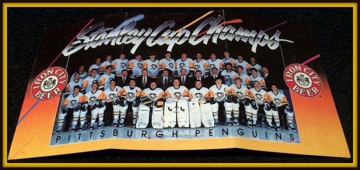 1991-92 PITTSBURGH PENGUINS IRON CITY BEER STANLEY CUP CHAMPIONS POCKET SCHEDULE #Pocket #Schedule