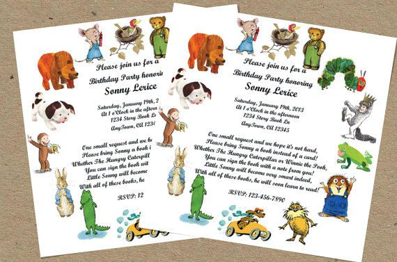 PDF VERSION Childrens Storybook Favorites Birthday Party or Baby Shower Invitation Golden Books Book Shower