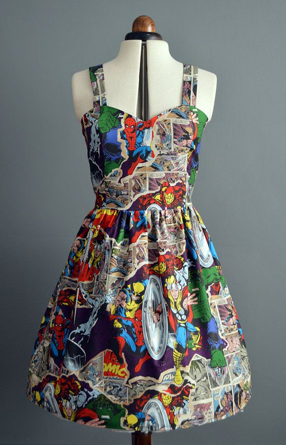 Marvel comic book dress    Marvel comic print dress with fitted bodice with your choice of shoulder straps or halterneck straps (see my other