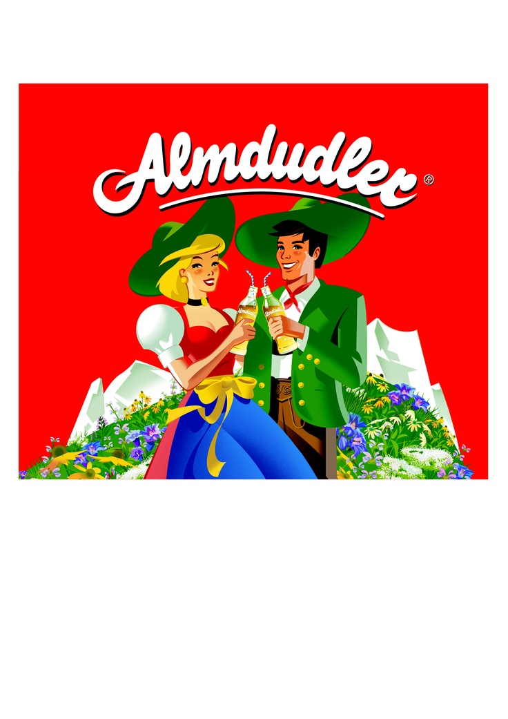Almdudler: Love the drink, love the dirndl & lederhosen logo!   http://dirndl-temptation.austria.info/2012/08/22/almdudler/