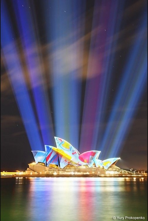 "Sydney Opera House, Australia -  this is exactly what the Opera House looks like during ""Vivid"" an amazing light show"