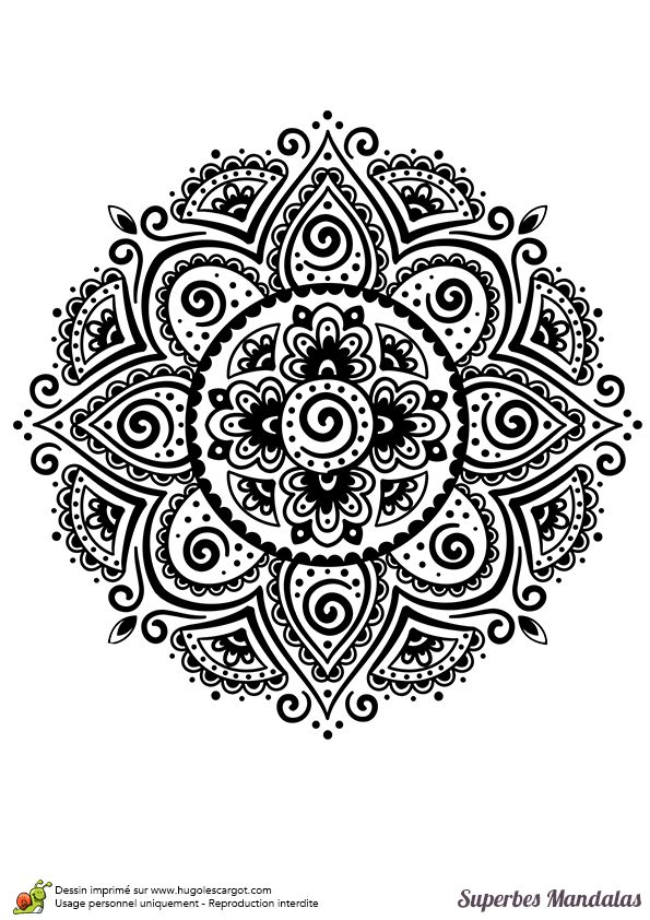 Coloriage d un superbe mandala indien assez classique et facile mandalas - Mandala facile ...
