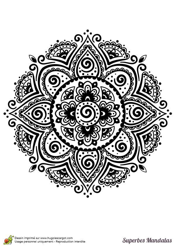Coloriage d'un superbe mandala indien assez classique et facile - Hugolescargot.com