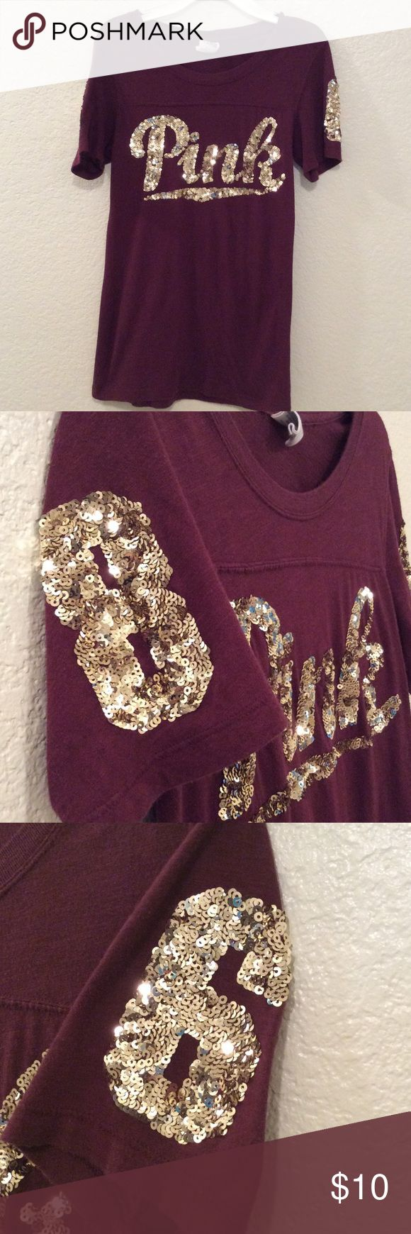 PINK burgundy and gold short sleeve top PINK burgundy and gold short sleeve top. Has some wear but still in good condition. PINK Tops Tees - Short Sleeve