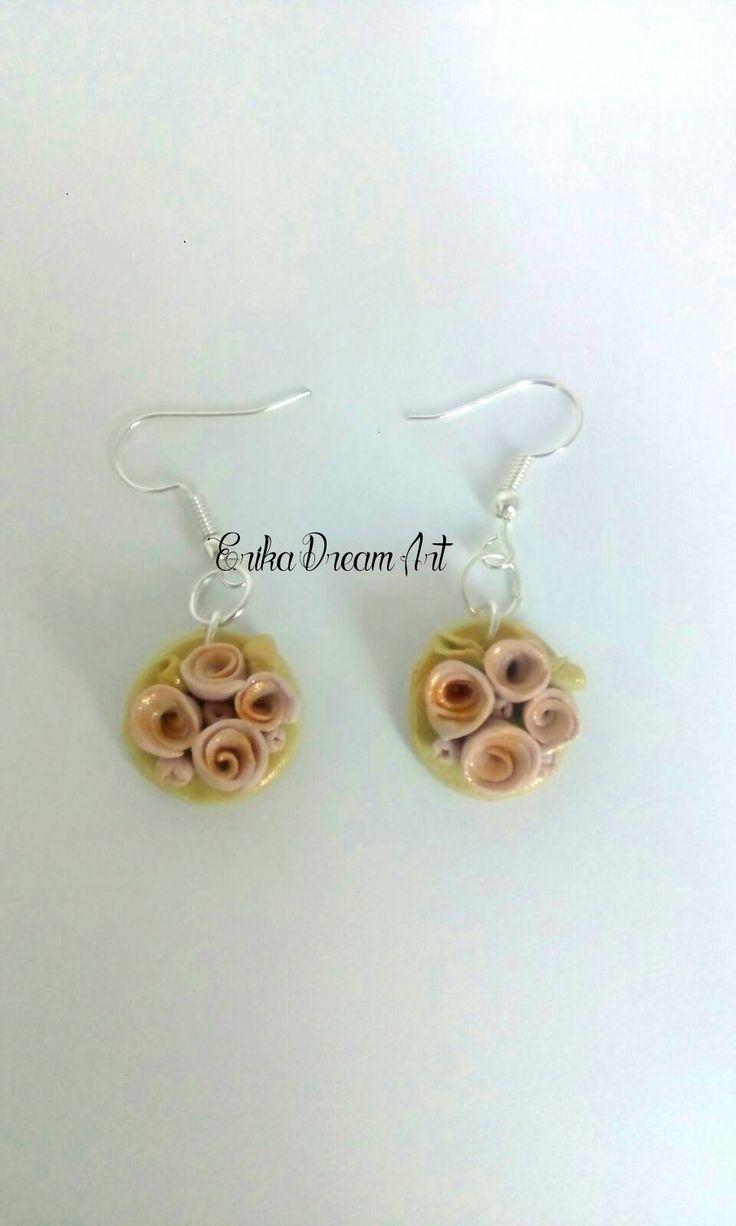 polymer clay bouquet earring