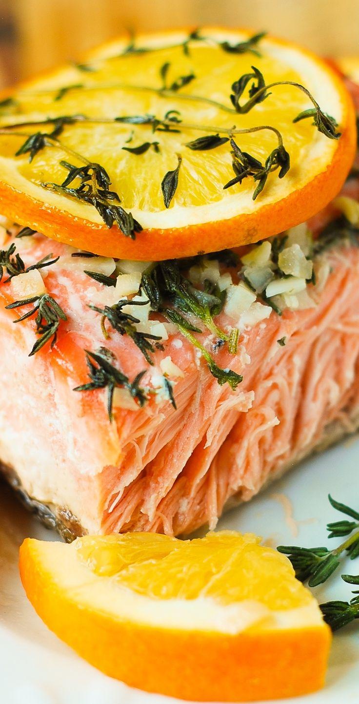 Orange Rosemary-Thyme Garlic Baked Salmon (gluten free, healthy, fish dinner recipe)