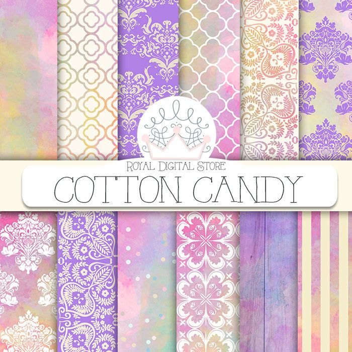 """Sweet digital paper: """"COTTON CANDY"""" with watercolor, damask, confetti, wood in pastel pink, purple, mint for scrapbooking, planners, cards #watercolor #damask #texture #partysupplies #digitalpaper #wedding #romantic #scrapbookpaper #pink #planner #shabbychic #woodtexture #summerdigitalkit"""