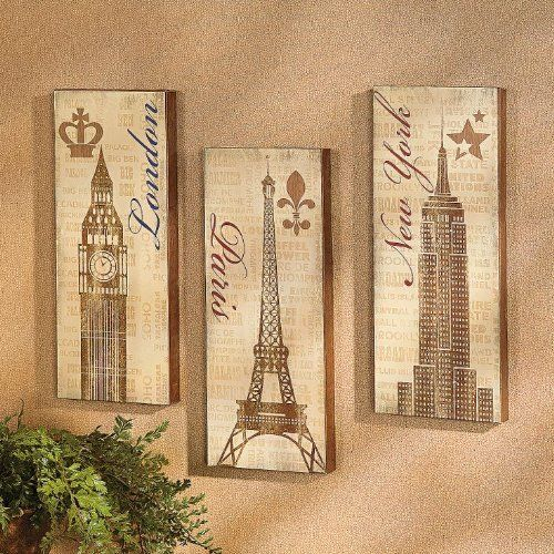 Set of 3 Paris London New York Global Eiffel Tower Big Ben Empire State Building Wall Hanging Decor Travel Around the World Shabbyc Chic Wood Artwok Plaque Decoration, http://www.amazon.com/dp/B00HQVYE1C/ref=cm_sw_r_pi_awdm_WfyVtb0ACXVMS
