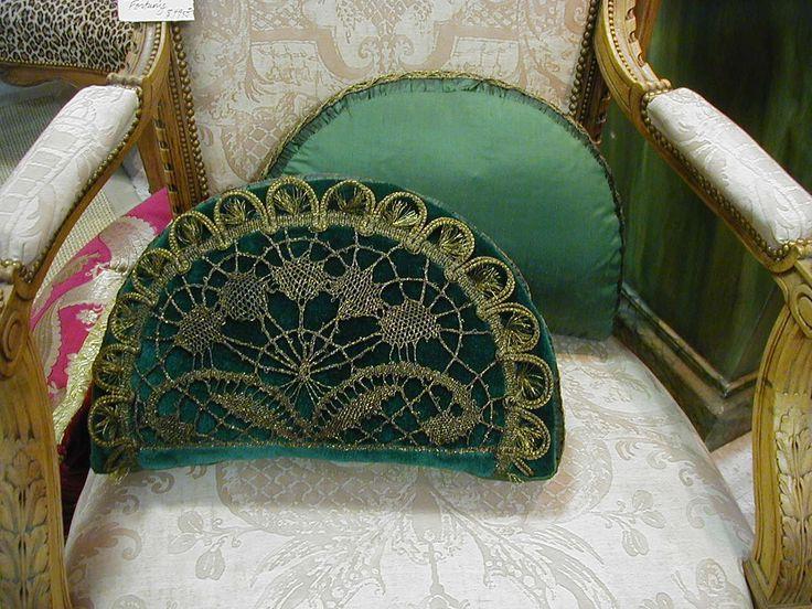 Crescent Pillows Face: Vintage Mohair in bottle green color. Vintage gold…
