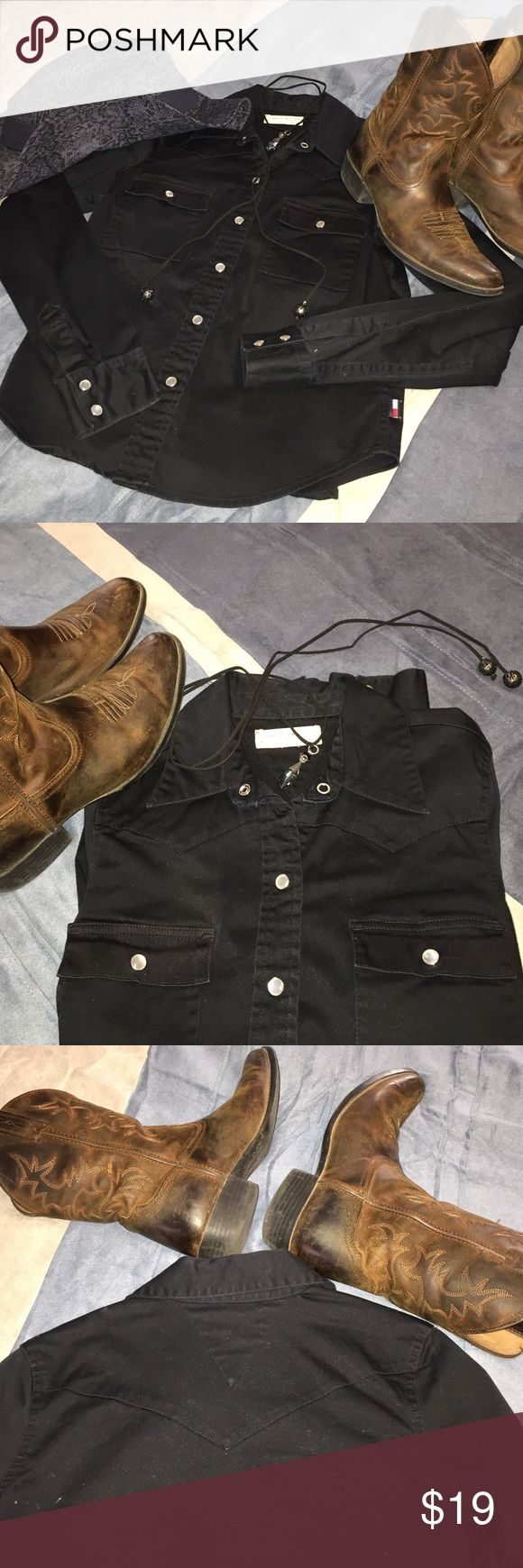 👢Tommy Jeans Cowgirl Shirt with bling buttons👢 👢Tommy Jeans Cowgirl Shirt with bling buttons👢 Perfect Condition 👢 Dark Navy Blue👢 Tommy Hilfiger Tops Button Down Shirts