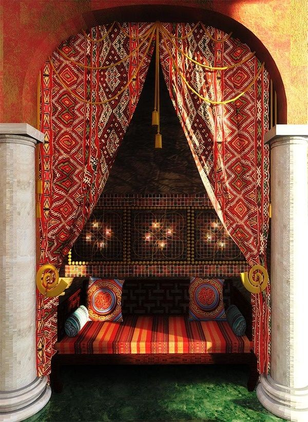 Stunning Moroccan Nook. I love the embroidered curtain patterns. Similar patterns can be found in my Kilims on my website.