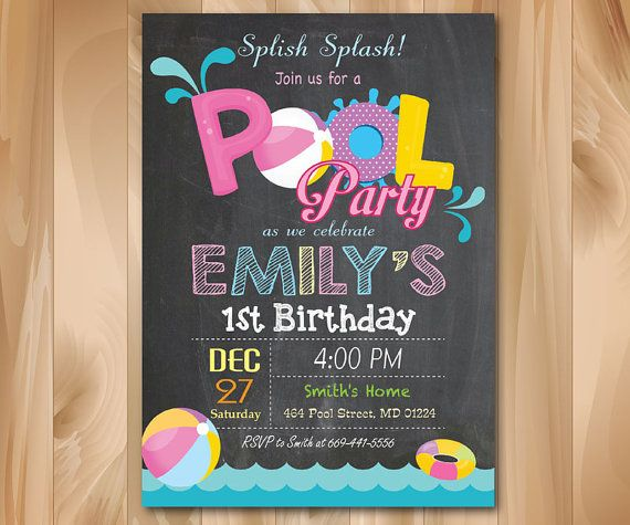 Hey, I found this really awesome Etsy listing at https://www.etsy.com/listing/237119113/pool-party-invitation-chalkboard-girl