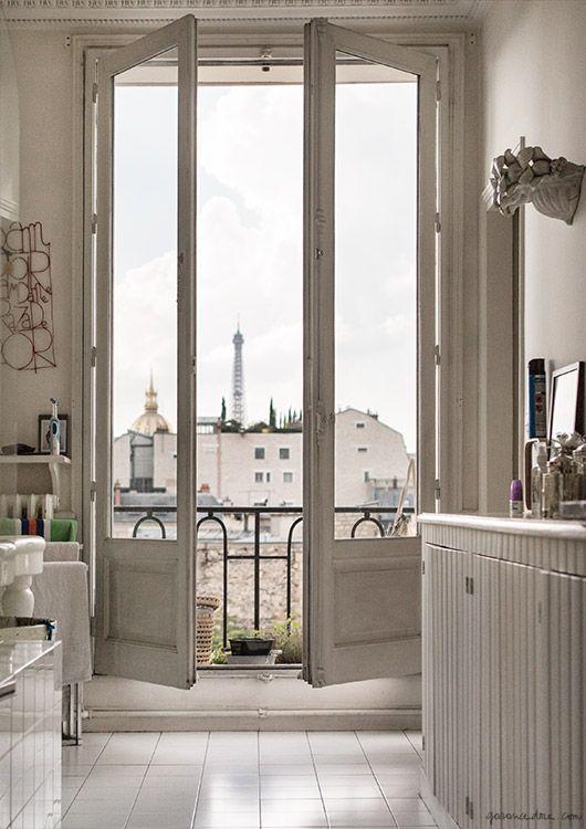Ramdane and Victoire's Paris Apartment, Eiffel Tower, 7th arrondissement, window, view / Garance Doré