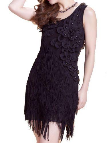 Vestido Vintage Década de 1920 Flapper Gran Gatsby Charleston Franja De Lentejuelas Fiesta Disfraz