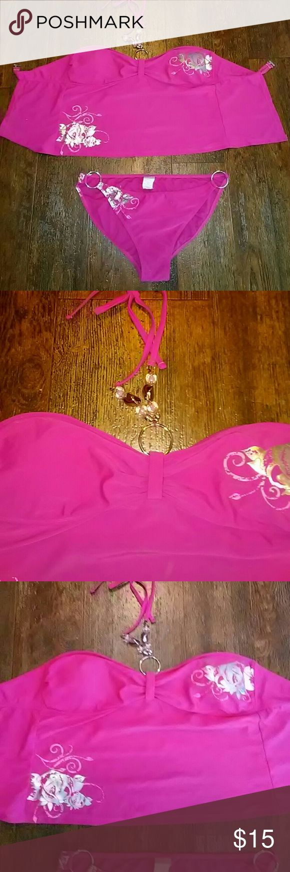 Pink Tankini Pink Tankini two-piece top is padded size extra large for both pieces. Great Condition Swim Bikinis