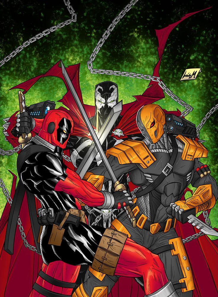 #Deadpool #Fan #Art. (Spawn vs. Deadpool. vs. Deathstroke) By: Chaosxm7. [THANK U 4 PINNING!!]