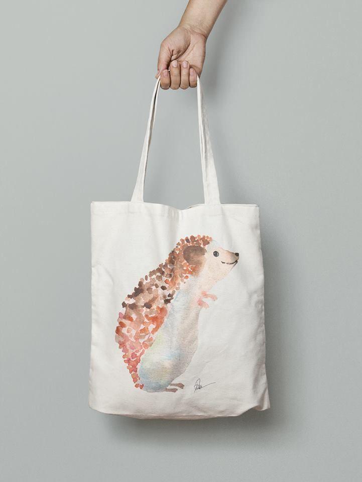 Hedgehog handmade bag- watercolor printed