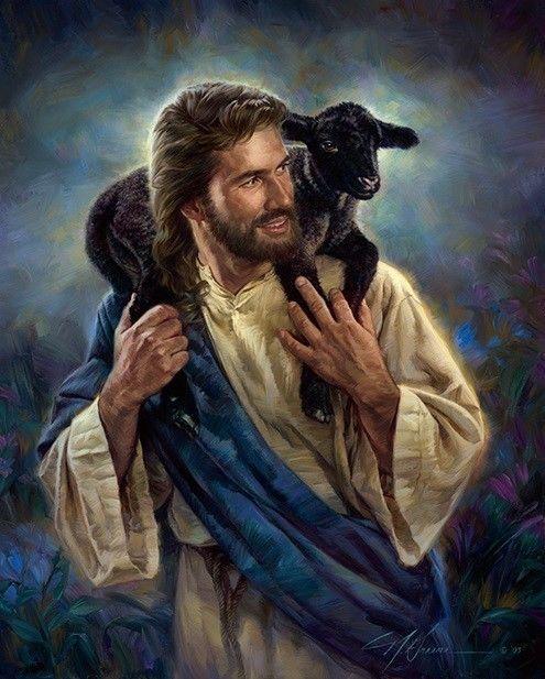 Nathan Greene THE GOOD SHEPHERD Jesus Black Lamb Sheep 16x20 open edition print #Realism