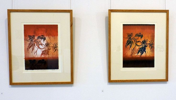 Jo Hollier - Morning Glory I and II - viscosity monoprint - 2014, Strathnairn by the Lake exhibition, Belconnen Arts Centre, August-Sept 2014