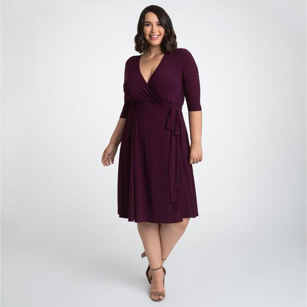 Kiyonna Womens Plus Size Essential Wrap Dress - Sale! 2