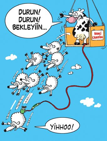 - Durun! Durun! Bekleyiin...  + Yihhoo!  #karikatür #mizah #matrak #komik #espri #şaka #gırgır #komiksözler