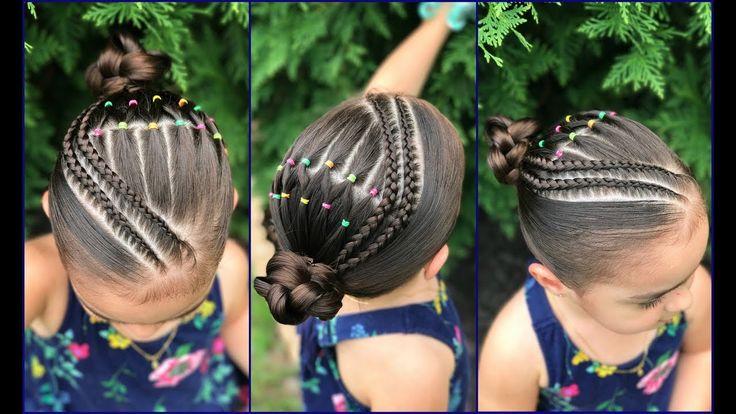 Peinados para niñas con ligas arcoiris  y trenzas pegadas|Peinados fácil...