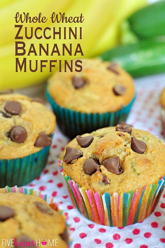 Whole Wheat Zucchini Banana Muffins ~ made with 100% whole wheat flour, coconut oil, yogurt, and honey | FiveHeartHome.com