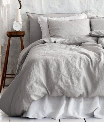 Pure Linen Duvet Quilt Cover 3pc set King Double Genuine 100% Linen Gray French Country Old Fashion Gray