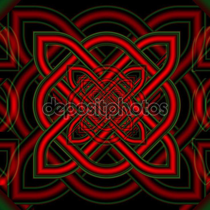 Sfondo insolito nodi celtici. St. Patricks Day. Opera d'Arte frattale per il disegno creativo — Immagini Stock #104799072