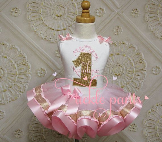 Princess Crown and Name Tutu Outfit - Baby girls 1st ...