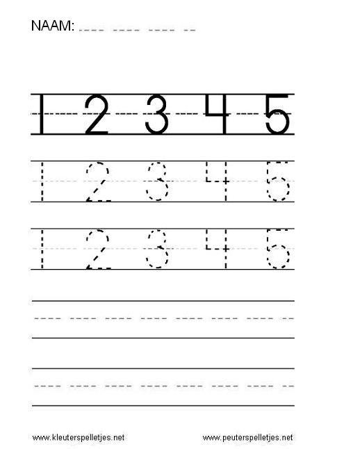 Cijfers leren schrijven, 1, 2, 3, 4, 5. Werkbladen rekenen.