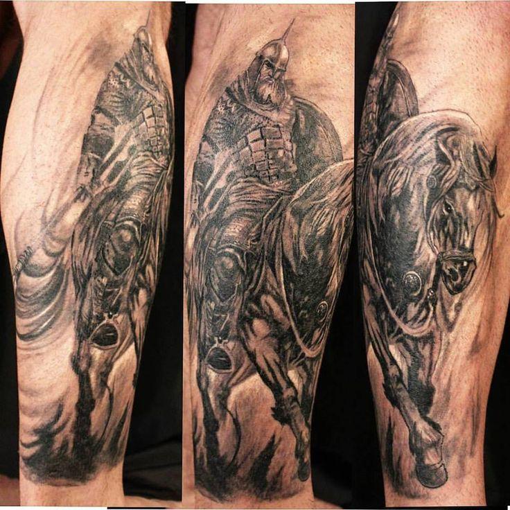 богатырь воин конь тату