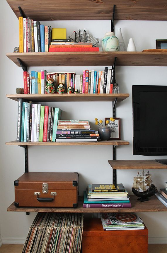 Diy full wall shelves the image kid has it for Cheap shelving ideas