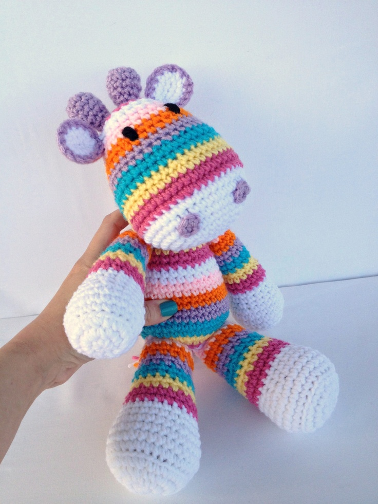 Crochet Giraffe Doll Amigurumi Stuffed Animal Toy in Stripes. $36.50, via Etsy.