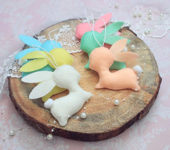 Bunny rabbits Easter ornaments easter basket by MiracleInspiration