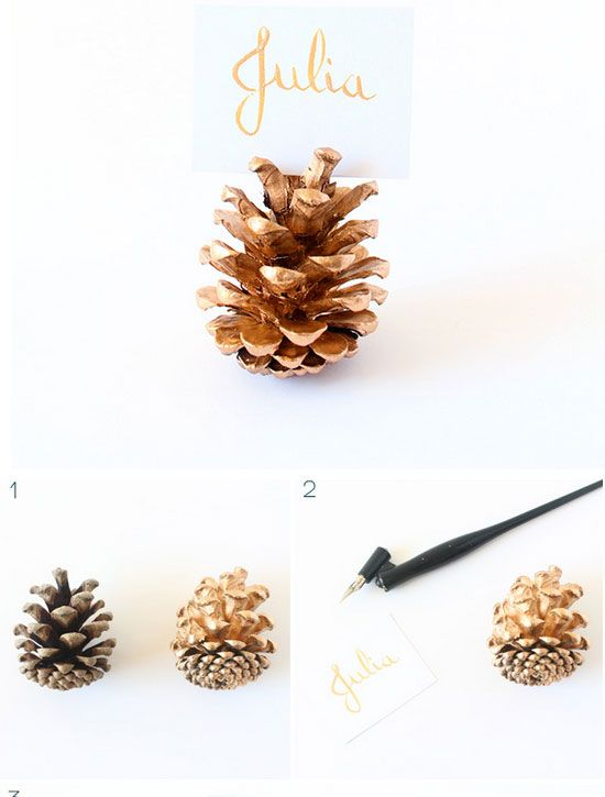Gold Pine Cone Place Card Holders | Click for 30 DIY Christmas Table Centerpiece Ideas | DIY Christmas Table Decoration Ideas