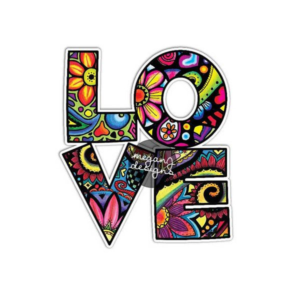 Love car decal colorful design bumper sticker laptop for Fish hippie sticker