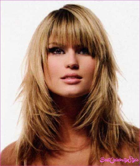 13. Medium Length Hairstyles with Bangs and Layers