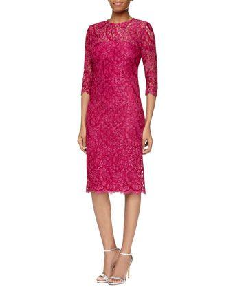 3/4-Sleeve Lace Sheath Dress, Hot Pink  by Kalinka at Neiman Marcus.