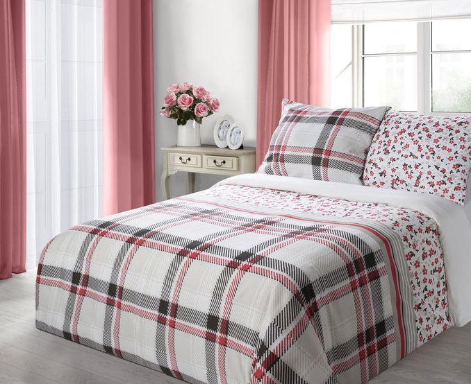 Biała nowoczesna pościel na łóżko w kratkę