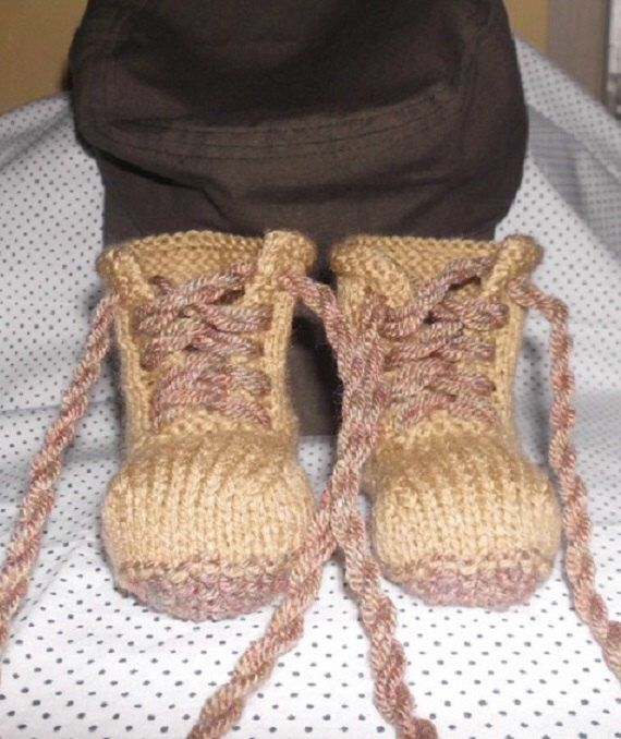 Baby Combat Boots military style boots handknitted riggers by HenniesNimbleneedles on Etsy https://www.etsy.com/listing/129178082/baby-combat-boots-military-style-boots